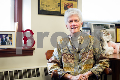 Robert Layman / Staff Photo Mary Moran, Superintendent of Rutland City Public Schools (and die hard Boston Red Sox fan), sits in her office inside the Longfellow Building in Rutland, Wednesday October 12, 2017. Moran announced her retirement publicly Wednesday, although the Rutland resident said she's still going to volunteer and be integrated in the community.