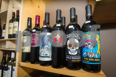 Robert Layman / Staff Photo A close up of some of Brix Market's more festive-labeled wines.