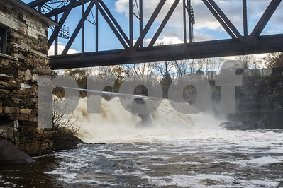 Robert Layman / Staff Photo Mead's Falls in Rutland Town flows heavy after the rain storm Sunday and Monday night. This photo was taken October 31, 2017.