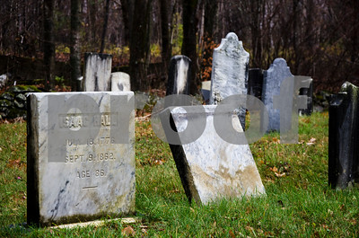 Robert Layman / Staff Photo Dates run back nearly three centuries for some of the headstones in the East Wallingford cemetery. Seen here is one listed for Isaac Hall, born 1776 and passing away 1862, living to 86.