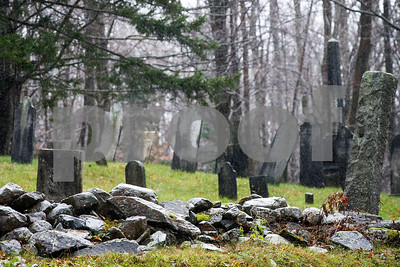 Robert Layman / Staff Photo Rain falls on an old cemetery on Sugar Hill Road in East Wallingford, Nov 6, 2017.