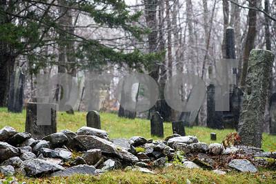 Robert Layman / Staff Photo Rain falls on an old cemetery on Sugar Hill Road in East Wallingford, Nov 6, 2017.