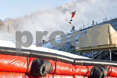 Robert Layman / Staff Photo A Killington Mountain School student prepares to land a jump on the new air bag landing system at the base of Killington Ski Resort.