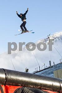 Robert Layman / Staff Photo A skier from Killington Mountain School completes a jump on the school's new air bag landing system at Killington Ski Resort Wednesday November 8, 2017.