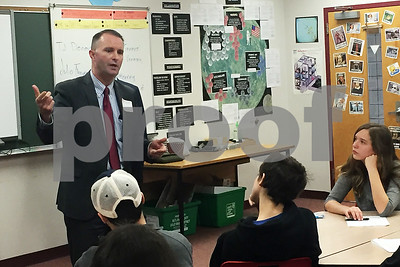 Patrick McArdle / Staff Photo Vermont Attorney General T.J. Donovan adresses a class at Rutland High School Wednesday morning Nov. 8, 2017.