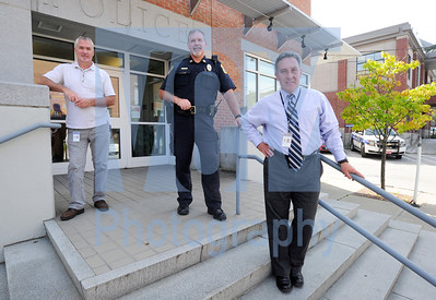 Jeb Wallace-Brodeur / Staff Photo Three members of the Montpelier Police Derpartment were recognized for 30 years of service to the city. From left are Det. Steve Noland, Capt. Neil Martel and Chief Tony Facos.