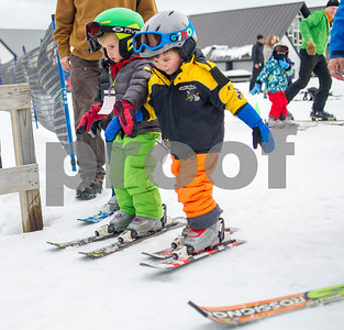 Robert Layman / Staff Photo A pair of eager Killington Elementary School students approach the start of the magic carpet during their lesson at Killington Ski Resort, Thursday Jan. 11, 2018.