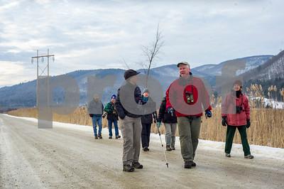 Robert Layman / Staff Photo Rutland County Aubudon Society on a monthly walk around the West Rutland Marsh Thursday morning, Jan. 11, 2018.
