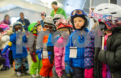 Robert Layman / Staff Photo Young Killington Elementary School students wait patiently in the Ramshead Lodge before their lesson Thursday, Jan. 11, 2018.