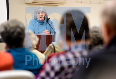 Jeb Wallace-Brodeur / Staff Photo Celebrated author Katherine Paterson speaks to a crowd Wednesday at the Montpelier Senior Activity Center during the Osher Lifelong Learning Institute's Central Vermont Lecture Series. Next week's featured speaker will be journalist and Montpelier native Garrett Graff.