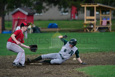 Jeb Wallace-Brodeur / Staff Photo Twinfield's James Berte waits for the throw as Rivendell's Charlie Bradley slides safely into second base during their game Thursday.