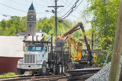Construction work continues at the rail crossing near Taylor Street in Montpelier on Monday.  Josh Kuckens/Staff Photo