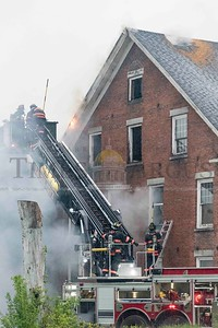 Barre Fire Department responds to a fire on North Main Street in Barre on Tuesday.  Josh Kuckens/Staff Photo