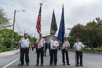 American Legion Post #3 and VFW Post #792 members make up the Color Guard at the Montpelier Memorial Day Parade on Monday.  Josh Kuckens/Staff Photo