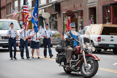 Vermont Sons of the American Legion member John Christian of Middlesex rides in the Memorial Day Parade on Monday.  Josh Kuckens/Staff Photo