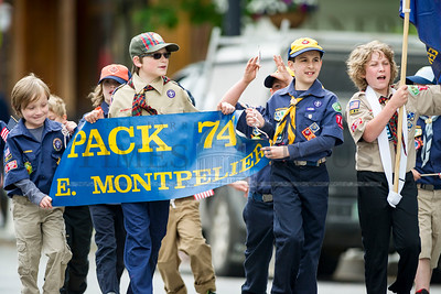 East Montpelier Boy Scout Pack #742 marches in the Montpelier Memorial Day Parade on Monday.  Josh Kuckens/Staff Photo