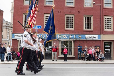 The Color Guard leads the Montpelier Memorial Day Parade on Monday down State Street.  Josh Kuckens/Staff Photo