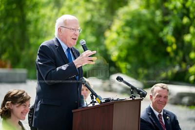 Senator Patrick Leahy shares his perspective at the groundbreaking ceremony for the Taylor Street Transit Center on Tuesday in Montpelier.  Josh Kuckens/Staff Photo