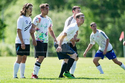 Hardwick defends a free kick against Craftsbury on Sunday in Central Vermont Soccer League action.  Josh Kuckens/Staff Photo