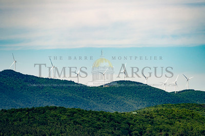 The Kingdom Community Wind Project's turbines are seen from Craftsbury on Sunday.  Josh Kuckens/Staff Photo