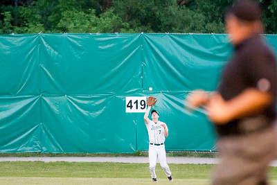 Mountaineers center fielder Bryce Kelley makes a catch against the visiting Valley Blue Sox in Montpelier on Tuesday.  Josh Kuckens/Staff Photo