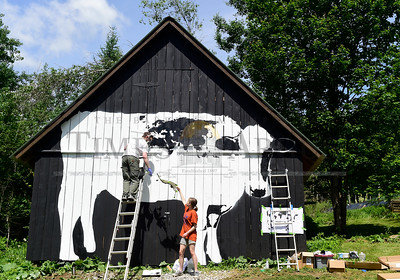 "Jeb Wallace-Brodeur / Staff Photo Artist DJ Barry, of Middlesex, hands a stencil to his assistant, Katerina Wood, 16, of East Montpelier, as he paints a world map on a nearly 19-foot cow mural on the side of a barn Saturday in Middlesex. The owners of the barn commissioned the piece for the community and Barry was inspired to paint the global map because ""we're all spots on the same cow."""