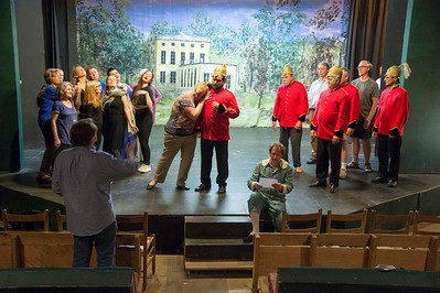 The cast of Patience holds rehearsal on Monday night at the Unadilla Theater in Marshfield.  Josh Kuckens/Staff Photo