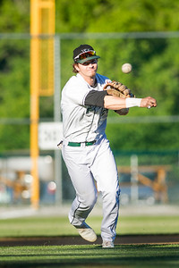 The Mountaineers' third baseman Brett Malm (Senior; Medford, NY/Adelphi U) throws across the diamond for the out against the visiting Sanford Mainers on Tuesday night.  Josh Kuckens/Staff Photo