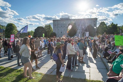 Hundreds gather at the Vermont State House in Montpelier on Monday to protest U.S. Immigration policy.  Josh Kuckens/Staff Photo