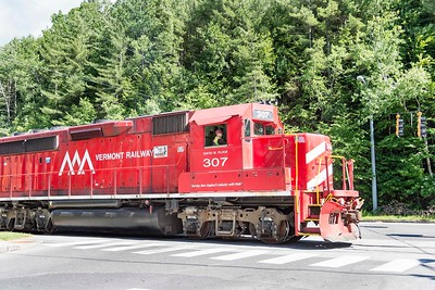 The Vermont Railway makes a trip towards Middlesex along Memorial Drive in Montpelier on Monday.  Josh Kuckens/Staff Photo
