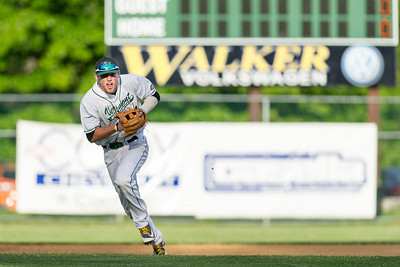 Mountaineers shortstop Paul Witt (Jr., Harpers Ferry, WV/ VCU) fields a grounder against the visiting North Adams Steeplecats in the first inning of Tuesday night's game at the Montpelier Recreation Field.  Josh Kuckens/Staff Photo