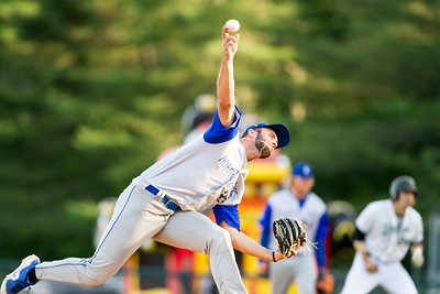 North Adams Steeplecats pitcher Cameron Kovachik (Jr., Monroe, CT/Duke) delivers to the Mountaineers in the first inning of Tuesday night's game at the Montpelier Recreation Field.  Josh Kuckens/Staff Photo