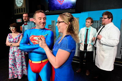 """Jeb Wallace-Brodeur / Staff Photo Todd Jones, as Superman, and Cassandra Macha, as Lois Lane, rehearse a scene from  QuarryWorks production of """"Its a Bird, Its a Plane, Its Superman ... a Musical""""."""