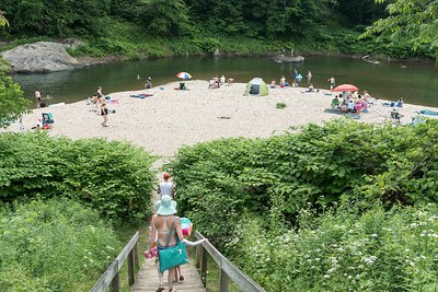 Vermonters seeking relief from the heat wave flock to the Mad River via Kenneth Ward Park in Moretown on Sunday.  Josh Kuckens/Staff Photo