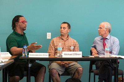 (Left) Concepcion Cruz, a Pathways Guide and Michael O'Brien (center) a volunteer, both of the Turning Point Center, discuss the opioid epidemic with Rep. Peter Welch  on Monday at Downstreet Housing in Barre during a roundtable discussion.  Josh Kuckens/Staff Photo