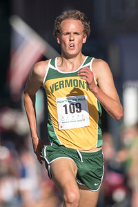 Thomas O'Leary is the first male finisher at the Montpelier Mile on Tuesday.  Josh Kuckens/Staff Photo