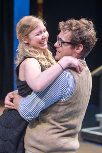 Sebastian, played by Damian Leverett, embraces Olivia, played by Laura Michelle Erle, during rehearsal for Twelth Night at Lost Nation Theater in Montpelier on Tuesday  Josh Kuckens/Staff Photo