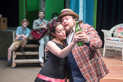 Sir Toby, played by Nick Wheeler, dances with Maria, played by Kate Kenney, during rehearsal for Twelth Night at Lost Nation Theater in Montpelier on Tuesday  Josh Kuckens/Staff Photo