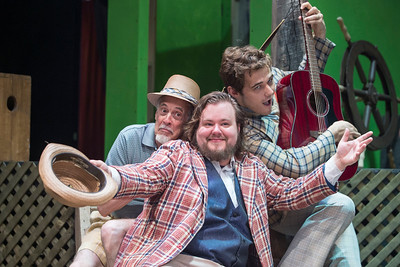 (Left to Right) Sir Andrew, played by Robert Nuner, Sir Toby, played by Nick Wheeler, and Feste, played by Damian LEverett, during rehearsal for Twelth Night at Lost Nation Theater in Montpelier on Tuesday  Josh Kuckens/Staff Photo