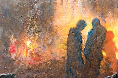 Stephanie Gordon Piermont, NH Bonfire #1-3 Encaustic, mixed media on panel