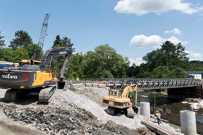 Crews continue work on the new route 14 bridge in East Montpelier on Tuesday.  Josh Kuckens/Staff Photo