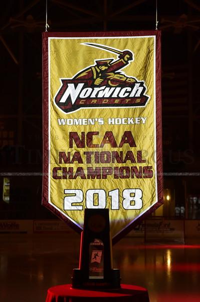 Norwich women's hockey banner ceremony