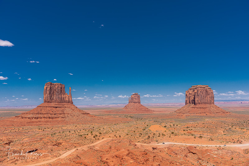From left to right,  West Mitten Butte, East Mitten Butte and Merrick Butte in Monument Valley, Utah.