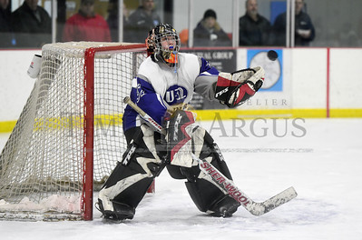 U-32 senior goalie Brianna Rich prepares to make a save during the first peiod of the Raiders' game against the Kingdom Blades on Wednesdsay.