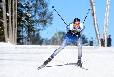 U-32's Jed Kurts skis to a victory Thursday in the Div. II High School Freestyle State Championships at the Craftsbury Outdoor Center.