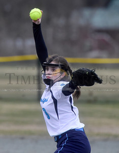 Randolph's Becky Johnson fires to the plate during the third inning of their game against Williamstown Thursday.