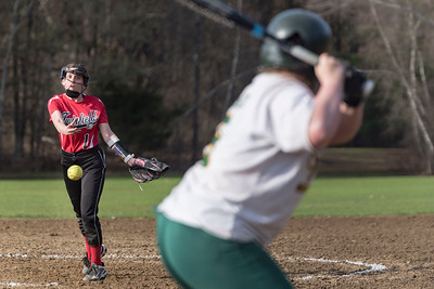 Twinfield's pitcher Ady Bar, left, fires home during Monday's matchup with People's Academy in Morristown.