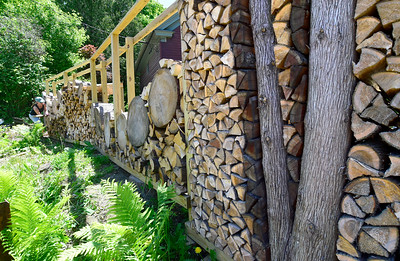 Kim Pierce works on an elaborate wall outside her Main St., home in Montpelier recently. Pierce, along with a group of friends, are building the artistic creation from slices of a Norway Spruce and other trees that were cut down on her property.