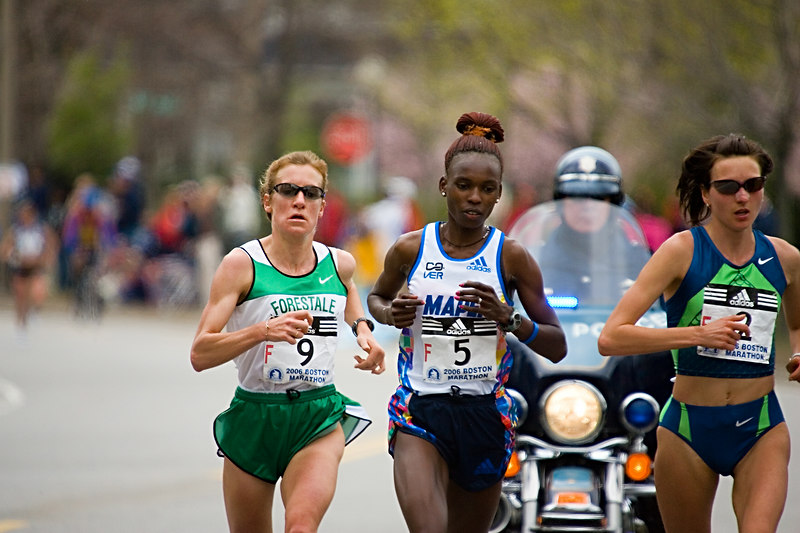 "<h3>Boston Marathon, Leading Women</h3> Jelena Prokopcuka (left), Rita Jeptoo, and Reiko Tosa near mile 20, about 1/2 way up Heartbreak Hill.  See <a href=""http://rutt.smugmug.com/gallery/1376007"">this gallery</a> for more from this shoot, including at least one of each winner.  17 April 2006"
