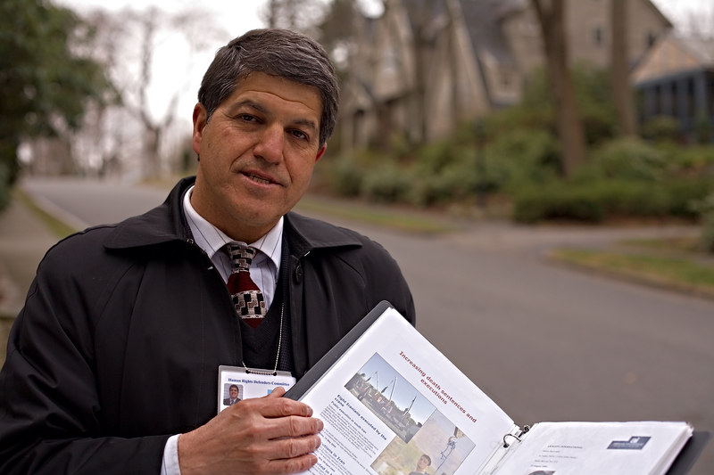 <h3>Esmail Jozani</h3> An Irani trying to collect signatures and raise money to support human rights.  Found just outside my house on the streets of Netown, MA on a Saturday late afternoon.  His organization is called <i>Human Rights Defenders Committee</i>, which must be one of thousands of postage stamp organizations trying to reach into Iran and help relatives and friends.  8 April 2006